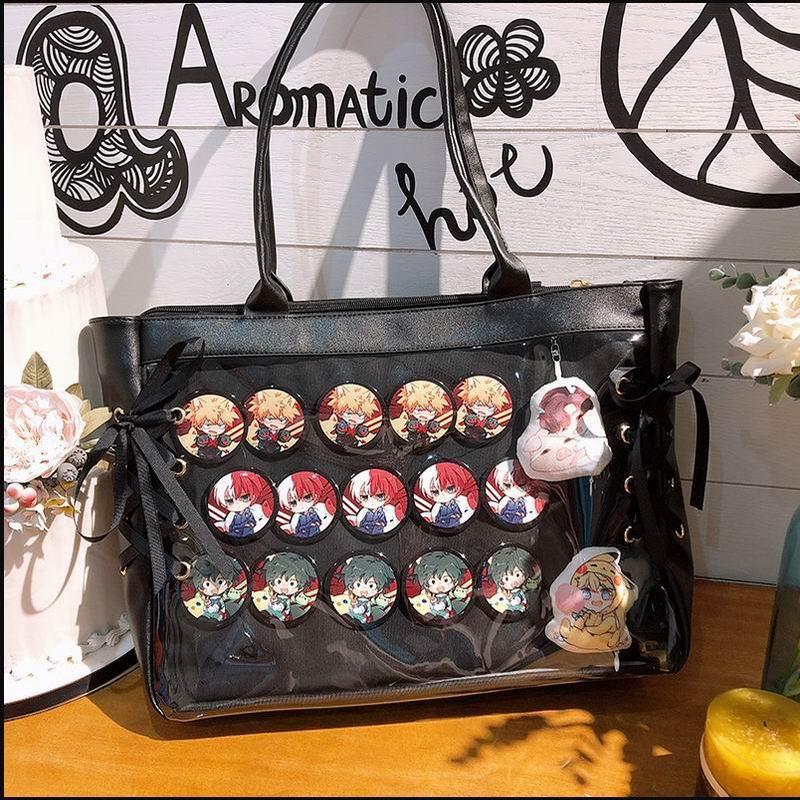Japanese Sweet Lolita Harajuku Transparent Itabag JK Ita bag Cosplay Girl Shoulder bag Preppy Style Kawaii Mori Girls Travel Bag-in Shoulder Bags from Luggage & Bags