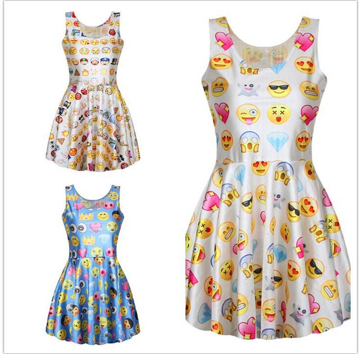 Cute Emoji Print Pleated Womens Sleeveless Skater Dress Girls Stretch Beach Sundress Mini Dress Smiley Summer Digital 3D Elastic