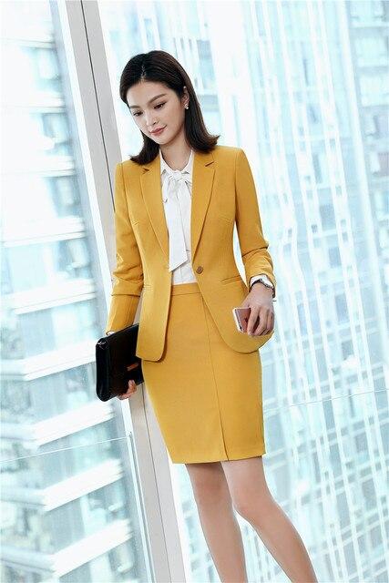 c6d25808c1 Amarillo elegante Formal uniformes estilos trajes chaquetas abrigos con  falda y chaquetas Conjunto para las mujeres