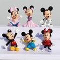 6 Unids/lote Disney Mickey Mouse Minnie Mouse Figura de Anime Figuras de Anime PVC Figuras de Acción Muñecas De Colección para Niños Juguetes Para Niñas
