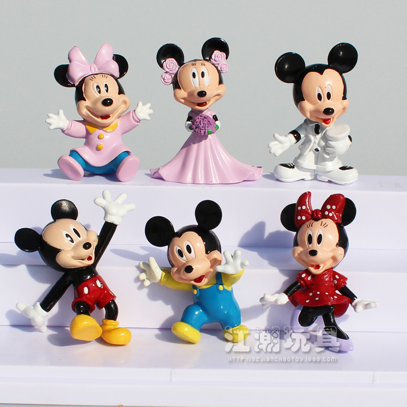 6Pcs/Lot Disney <font><b>Mickey</b></font> <font><b>Mouse</b></font> Anime <font><b>PVC</b></font> Action Figures <font><b>Minnie</b></font> <font><b>Mouse</b></font> Anime Figure Figurines Collectible Dolls Kids Toys For Girls