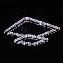 Moderno Colgante de Luz Led de Cristal 2 Anillos Cuadrados 90-265 V Acero Inoxidable Cristal Lámpara Colgante para el Comedor tienda de Luz