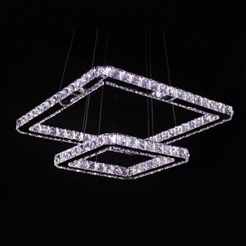 Modern Led Pendant Light Crystal 2 Square Rings 90-265V Stainless Steel Crystal Pendant Lamp for Dinning Room Store Light