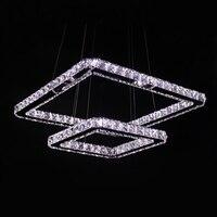 Modern Led Pendant Light Crystal 2 Square Rings 90 265V Stainless Steel Crystal Pendant Lamp For