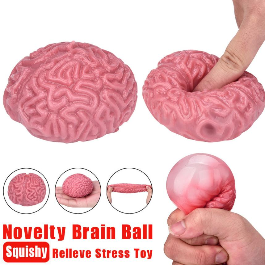 Novelty Squishy Brain Toy Squeezable Fun Toys Relieve Stress Ball Cure Toy funny prank oyuncak squishy anti stress #25 jumbo squishy brown cow relieve stress toys