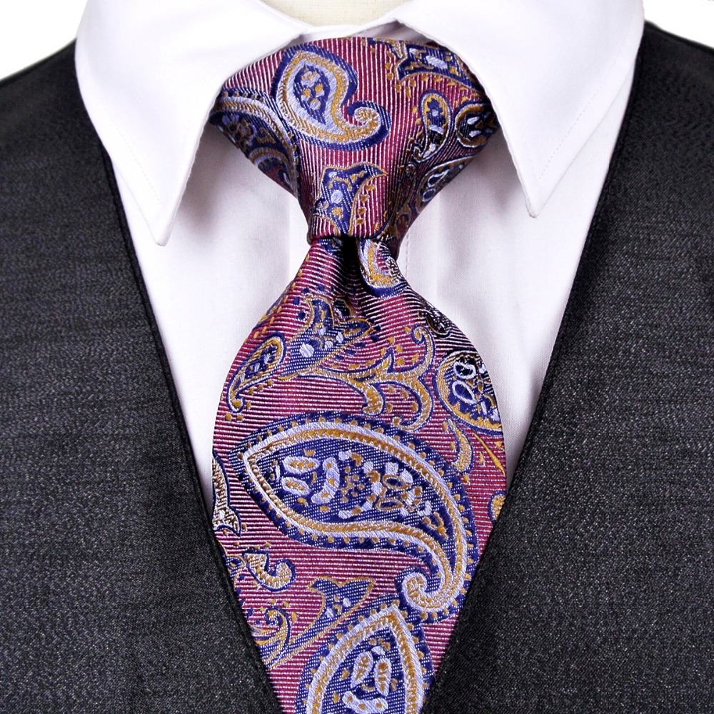 Paisley Turquoise Navy Blue Pink Red Yellow Crimson Mens Ties Neckties 100% Silk Jacquard Woven Free Shipping Suit Gift For Men