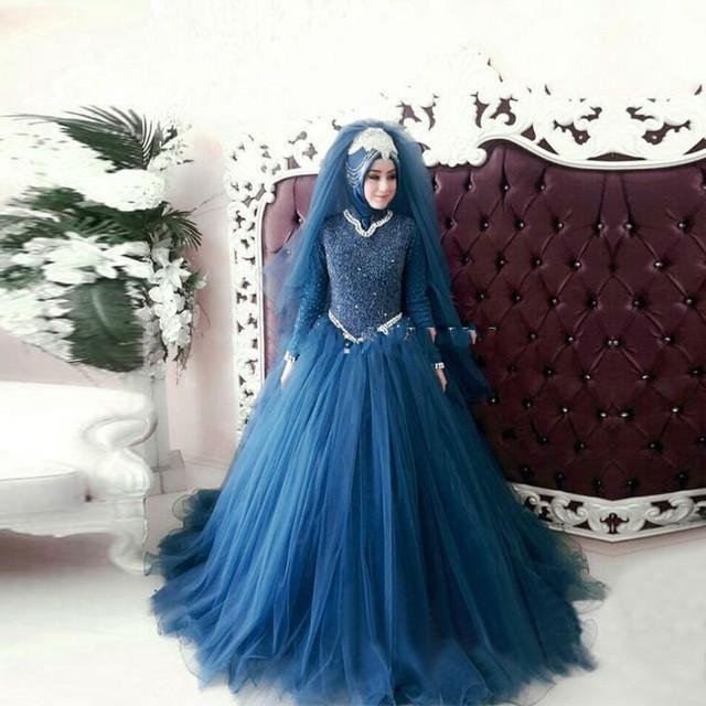 Robe De Mariage Blau Ballkleid Brautkleider High Neck lange Hülsen ...