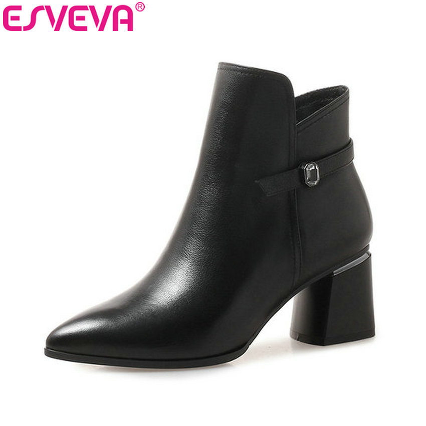 ESVEVA 2019 Women Boots Pointed Toe Cow Leather PU Autumn Shoes Zip Ankle Boots Square High Heels Crystal Woman Shoes Size 34-42 esveva 2018 cow leather pu women boots autumn shoes ankle boots square high heels ladies motorcycle boots black size 34 39