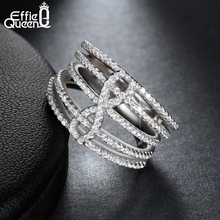 Effie Queen New Fashion Women Infinity Sign Ring White Gold Plated 140 Pieces Micro Cubic Zircon Pave Wedding Finger Ring DAR025