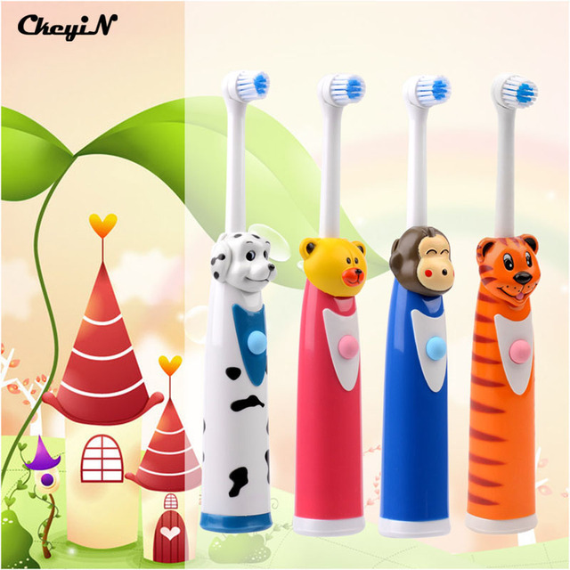 4Pcs Rotating Cartoon animal Waterproof Electric Toothbrush with 8 Brush Heads Tooth Brush Oral Hygiene Dental Care 4 Colors