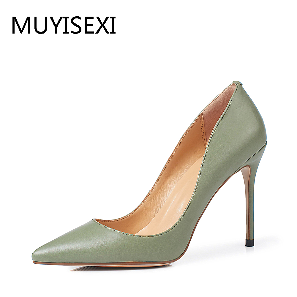Full Genuine leather Women High Heel Shoes Pumps Sexy Pointed Toe Wedding Shoes Apricot Green Black