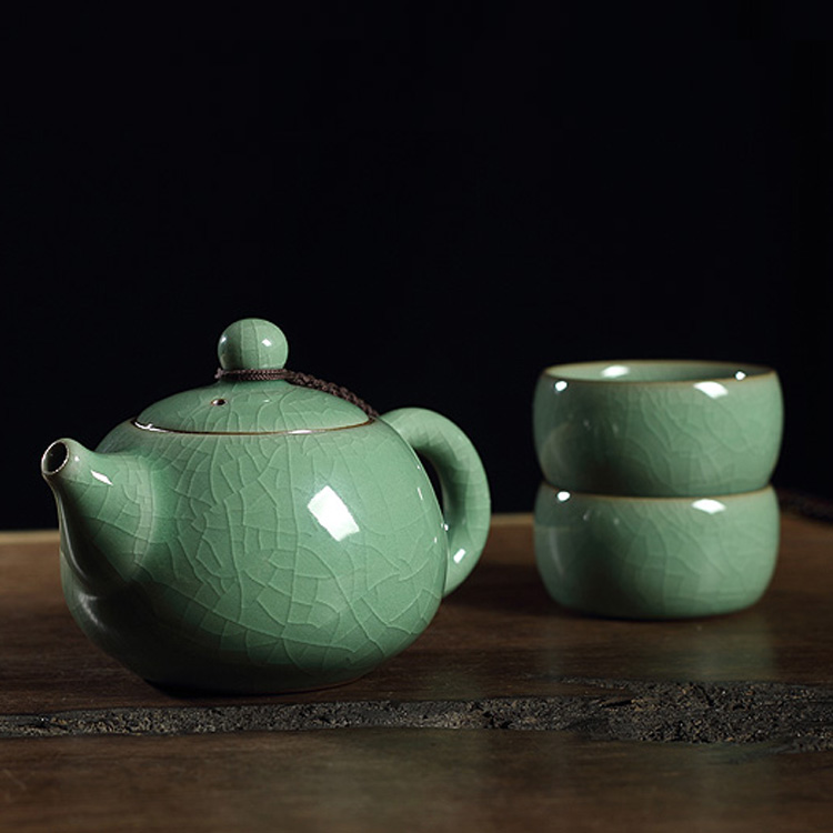 Longquan Celadon Tea Set Teapot Cup Gift Set Retro Home