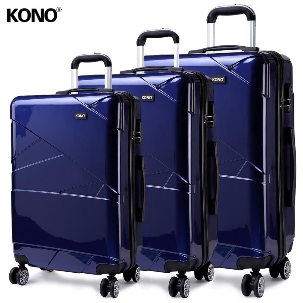 KONO Travel Suitcase Rolling Hand Luggage Hardside PC 4 Whee