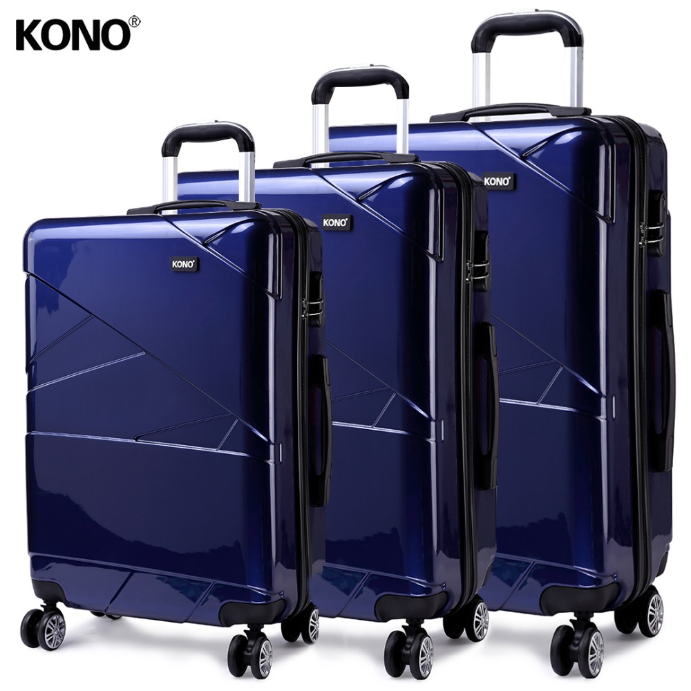 KONO Travel Suitcase Rolling Hand Luggage Hardside PC 4 Wheels Spinner Check in Carry on Trolley Case Bag 20 24 28 Inch YD1772L