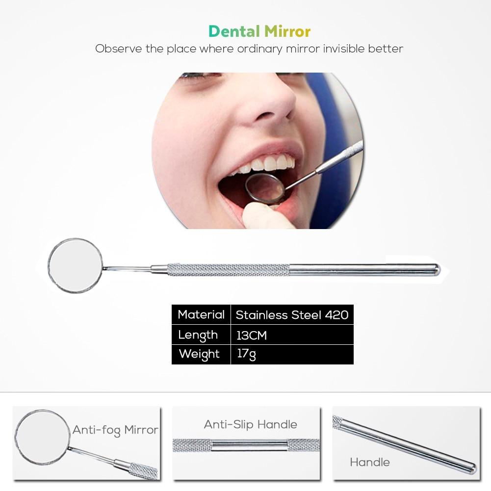 Vaclav 4Pcs Dental Mirror Stainless Steel Dental Dentist Prepared Tool Set Probe Tooth Care Kit Instrument Hoe Sickle Scaler 4
