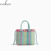 Japan Style Women Plaid Beach Bags Summer Casual Straw High Quality Crossbody Handbags Drop Shipping