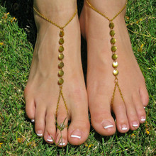 1 PC Gold Shiny Round Summer Style Toe to Ankle Chain Bracelet Anklet for Women Wholesale