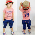 Baby Boy set Kid Summer Short Sleeve T-shirts Tops Clothes Pants Outfit Pinks