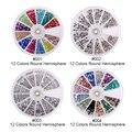 4 rodas 12 cores Nail Art strass Nail Art Beads prego pó Mutil cores e desenhos hemisfério decorações