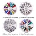 4 wheels / set 12 colores belleza del arte del clavo de los Rhinestones del arte de los granos del polvo de uñas Mutil colores y diseños hemisferio decoraciones