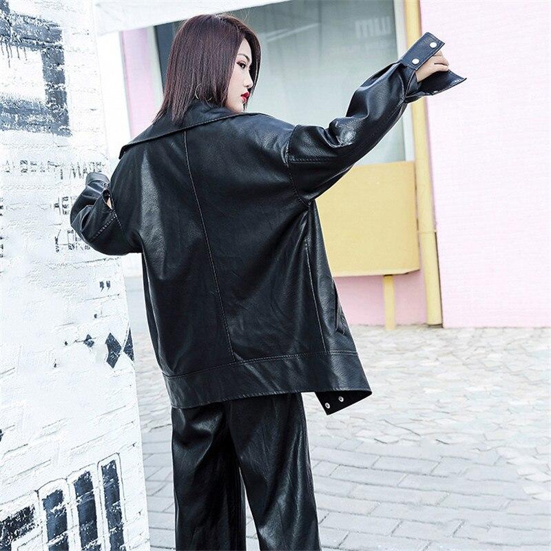 Style Long Moto Mediun Add Femmes Manteau Automne Conventional Veste Black En Lâche Pu Printemps Taille Hiver Bf Cuir Grande black Cotton Dt0108 xZRF6RqYn