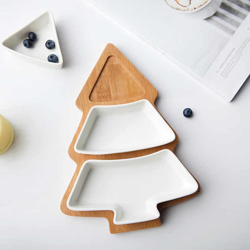 Naczynia drewniane przekąski choinki naczynia ceramiczne talerze porcelanowe naczynia stołowe sałatka ciasto owoce deser dekoracje świąteczne