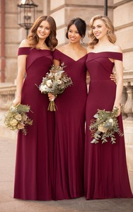 Image 2 - Mermaid Bridesmaid Dresses Long  Dress for Wedding Party 2020 V Neck Robe Demoiselle Dhonneur Wedding Guest Dress
