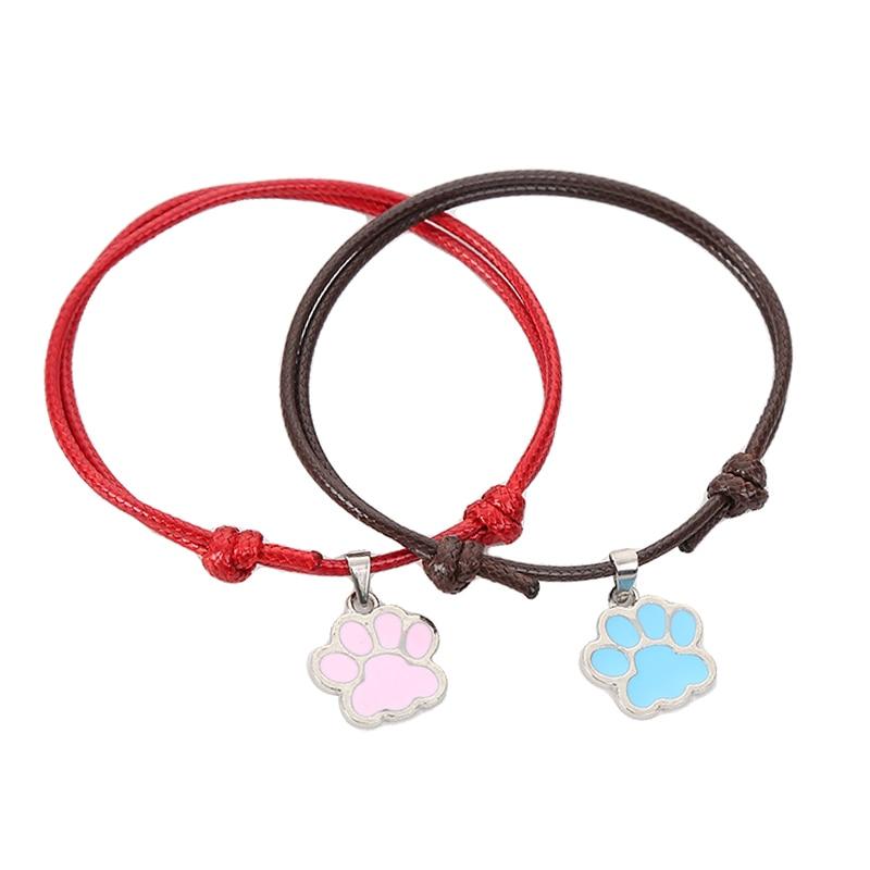 ALI shop ...  ... 33030128206 ... 4 ... BOBIGIULAI Brand 2pcs/set Cute Dog Footprint Couple Bracelet Fashion Simple Adjustable Bracelet Jewelry For Student Gift ...