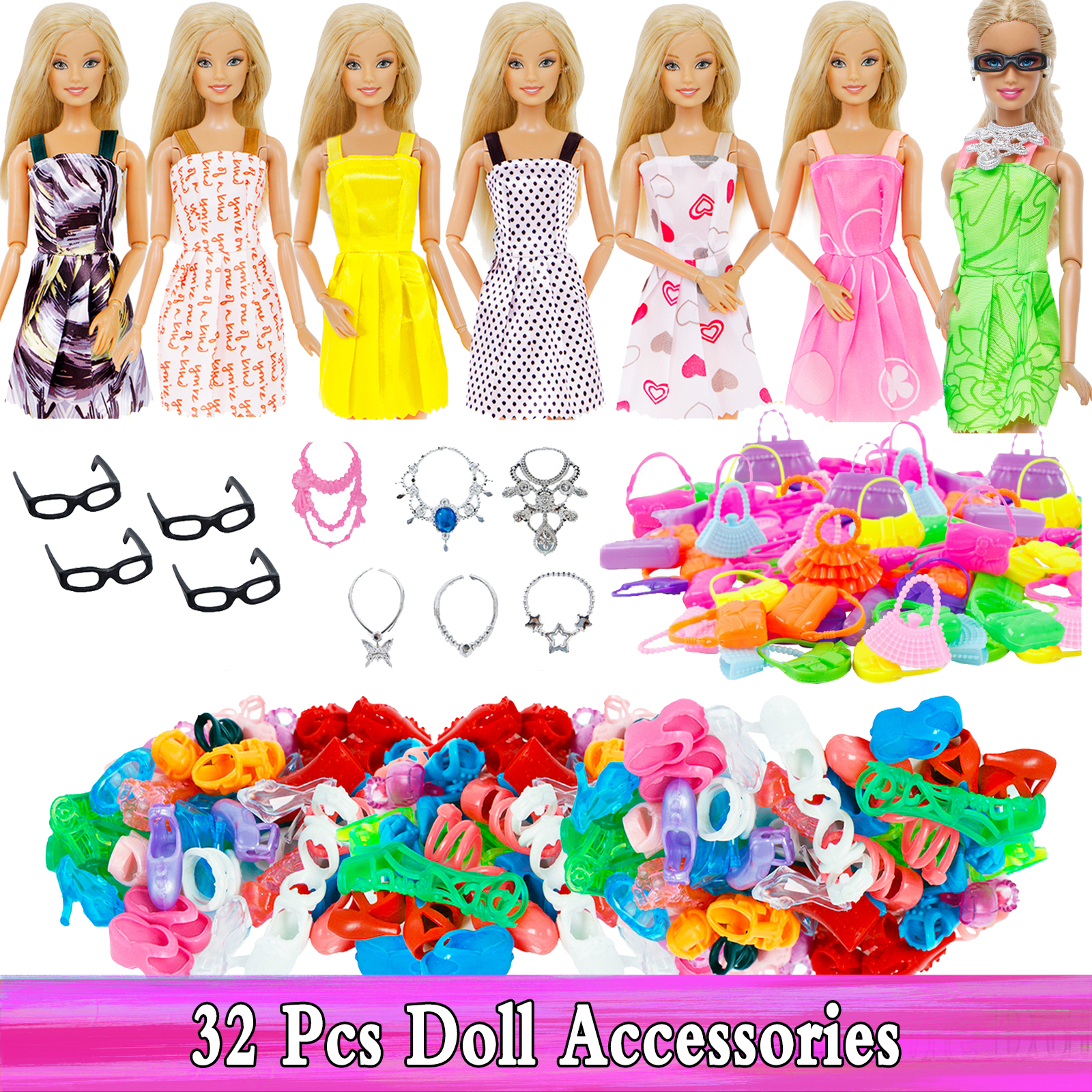 Random 32 Pcs = 10x Mixed Style Mini Dress + 10x Shoes + 6x Necklace + 4x Glasses + 2x Plastic Bags For Barbie Doll Accessories