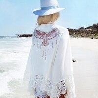 Ariel Sarah Eagle Bikini Cover Ups Animal Print Beach Coat Swimsuit Cover Ups Lace Beachwear Sun