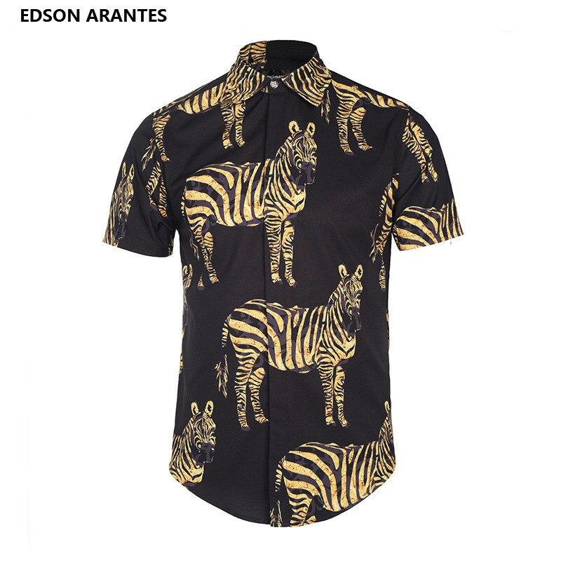 74263fc21fa0 EDSON ARANTES Vintage Shirt Short Sleeve Men Shirts Unique Zebra stripes  Print 3D Shirt Male Casual Slim Fit Camisas Para Hombre-in Tuxedo Shirts  from Men s ...