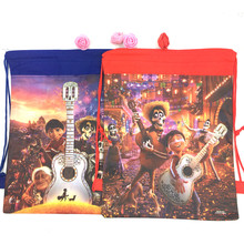 1pcs coco theme non-woven bag fabric backpack child travel school decoration mochila drawstring gift