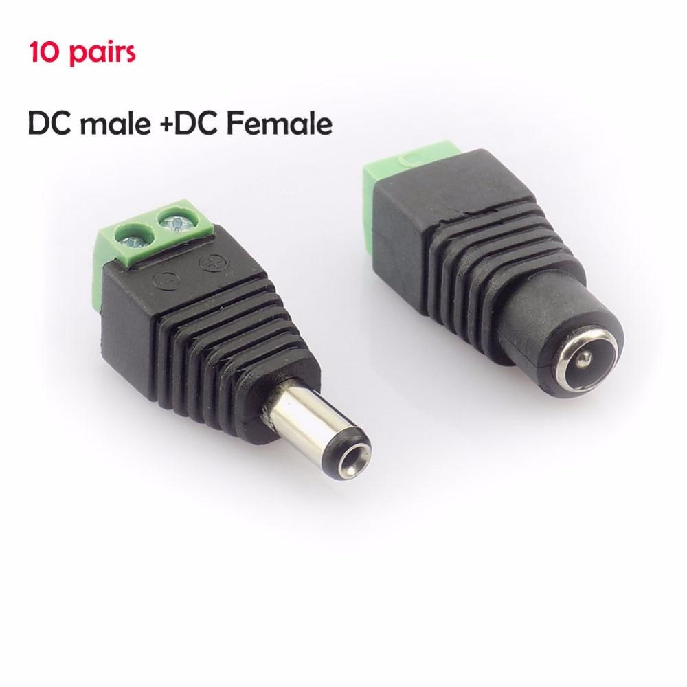 10 Pair (20pcs) Coax Cat5 To Bnc DC Power Male Jack Plug DC Female Connector Plug Adapter Av BNC UTP For CCTV Camera Video Balun