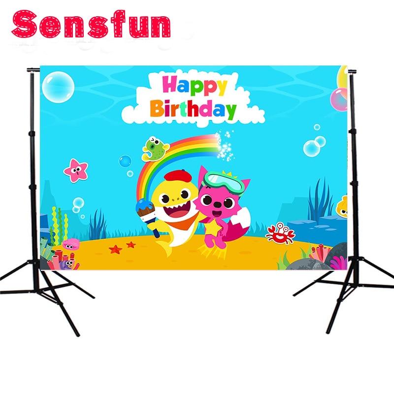 Baby Shower Birthday Home Decoration Custom Children Photographic Background Vinyl Rainbow PINKFONG Backdrop стоимость
