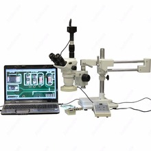 Big sale Boom Stand Stereo Microscope–AmScope Supplies 2X-225X Boom Stand Stereo Microscope w 8-Zone 80-LED Light + 5MP Digital Camera