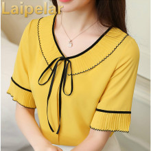 Summer New Chiffon Shirt Female Round Neck Bow Tie Lotus Leaf 2018 Blouse Women Ruffle Sleeve Short Sleeve Lady Tops Laipelar foldover neck belted bow tie sleeve blouse