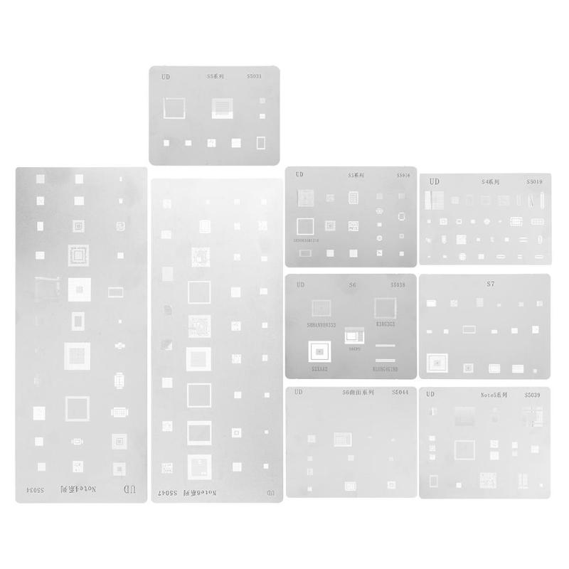 9pcs/set IC Chip BGA Reballing Stencil Kits Tin Solder Template for Samsung S3 S4 S5 S6 S7 Note4 Note5 Note6