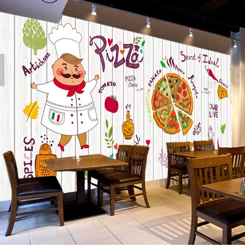 Hand Painted Cartoon Creative Pizza Shop Fast Food Western Restaurant Wall Decor White Background Mural Wallpaper 3d Wall Paper Wallpapers Aliexpress