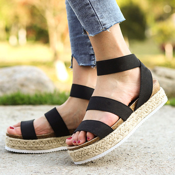 Sandalias de plataforma 2019 para mujer, zapatos de cuña de talla grande para mujer, Sandalias de tacón alto, zapatos de verano, chanclas para mujer