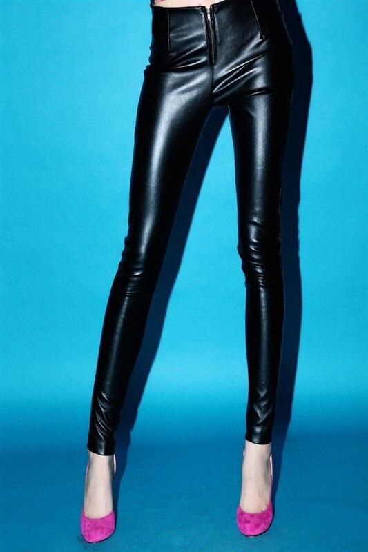DS costumes acier tube serré qiu dong han édition pantalon humide PU cuir pantalon femme nouveau spectacle mince rendu lié pieds
