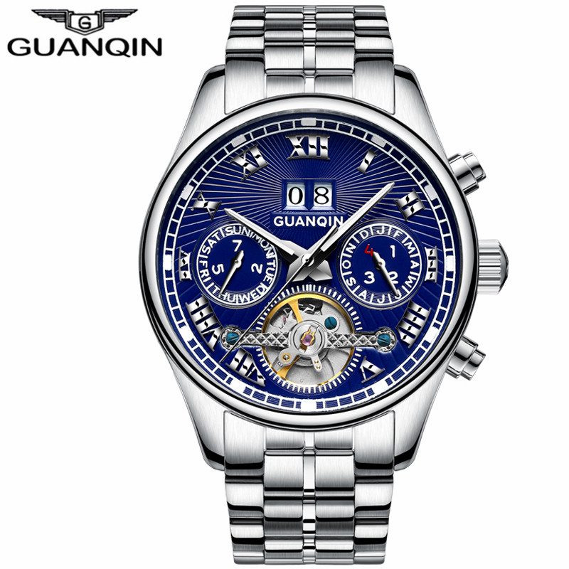 Tourbillon Watch Man brand GUANQIN Automatic Mechanical Watches Men Clock Steel Strip Waterproof Luminous Wristwatches men цена 2017