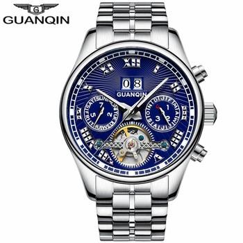 Tourbillon Watch Man brand GUANQIN Automatic Mechanical Watches Men Clock Steel Strip Waterproof Luminous Wristwatches men