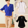 2017 New Sexy European Style Women Fashion Solid Blouse Long Sleeve V Neck Chiffon Basic Shirts Plus Size Summer Style Blusas