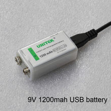 Unidad USB 9 V batería recargable de iones de litio de 1200 mAh celda de iones de litio para micrófono inalámbrico guitarra EQ alarma de humo multímetro(China)