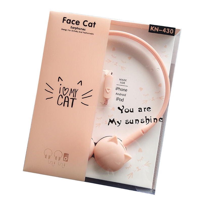 Cute Face Cat Earphones Over-Ear Muisc Stereo Headphone With Microphone Children Daughter Earpieces Headset With Retail Package