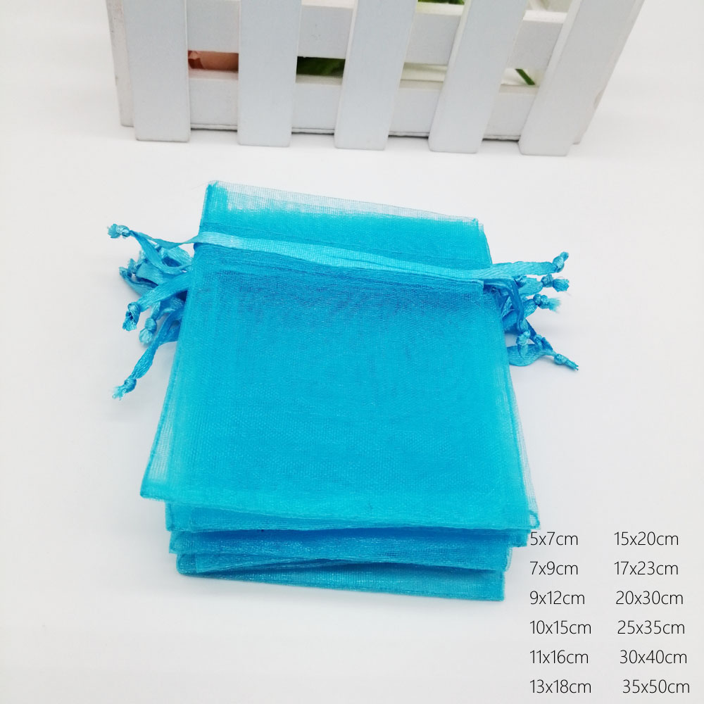 Image 5 - Lake Blue Organza Bag Drawstring Pouch Bag Jewelry Box Gift For  Earring/Necklace/Ring/Jewelry Display Packaging Bags OrganizerJewelry  Packaging