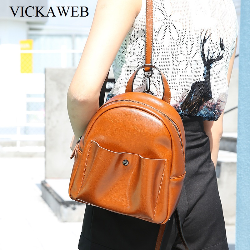 VICKAWEB 2017 Women Backpack Genuine Leather Solid Ladies Backpacks Womens Fashion Backpack Zipper female Bagpack Soft