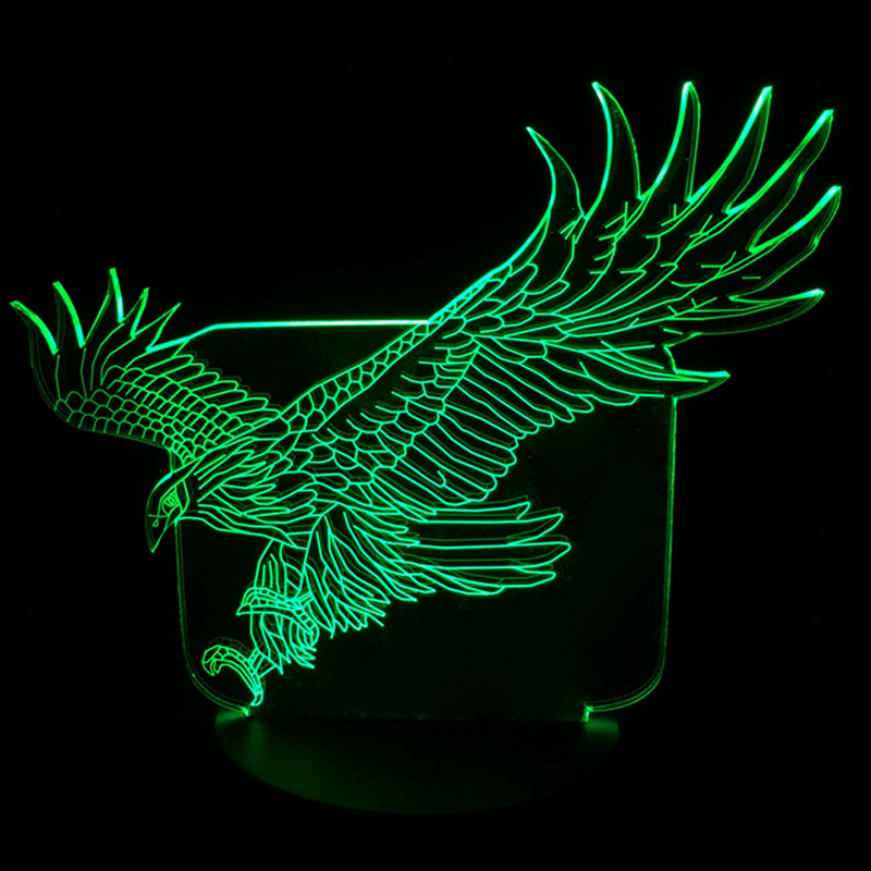 New Amazing Flying Big Eagle Shape Night Light Colorful Hawk 3D Cartoon Table Lamp for Office Hotel Bedroom Bar Touch Sensor