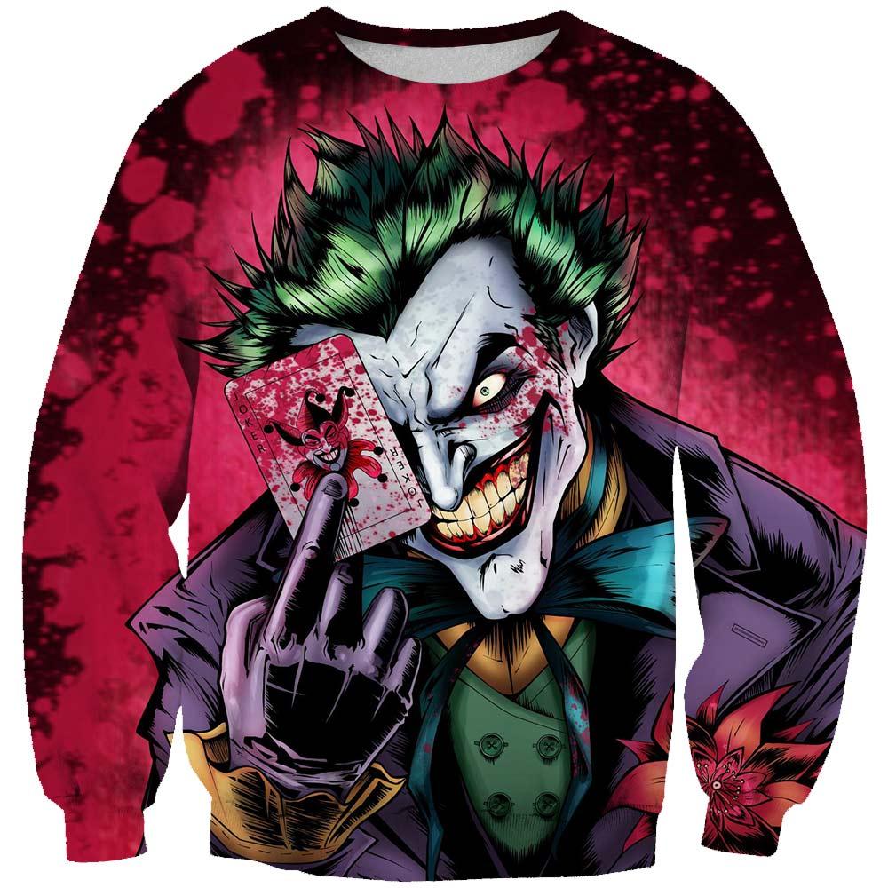 Men Skull 3D Print 2019 Capless Hoodies Sweatshirts Brand Joker Poker Tops Hoody Harajuku Streetwear Clothes Plus Size
