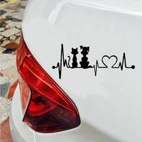 Lovely Dog Cat Heartbeat Reflective Car Vehicle Body Window Decals Sticker Decor 1